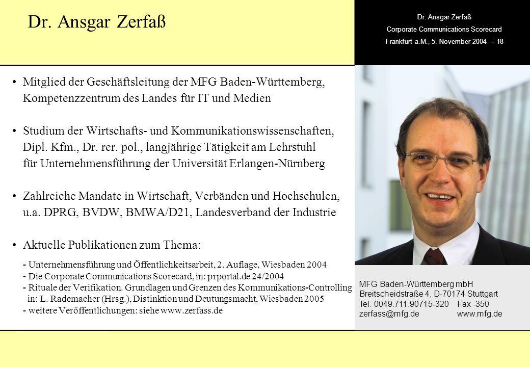 , Dr. Ansgar Zerfaß Corporate Communications Scorecard Frankfurt a.M., 5. November 2004 – 18 MFG Baden-Württemberg mbH Breitscheidstraße 4, D-70174 St