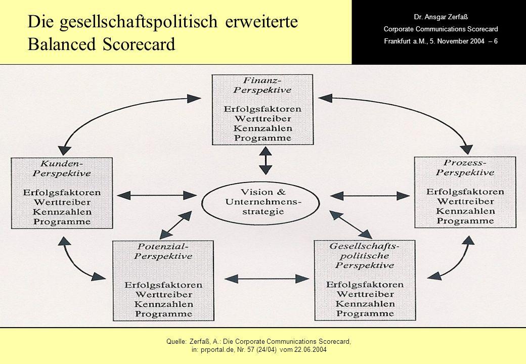 , Dr. Ansgar Zerfaß Corporate Communications Scorecard Frankfurt a.M., 5. November 2004 – 6 Die gesellschaftspolitisch erweiterte Balanced Scorecard Q