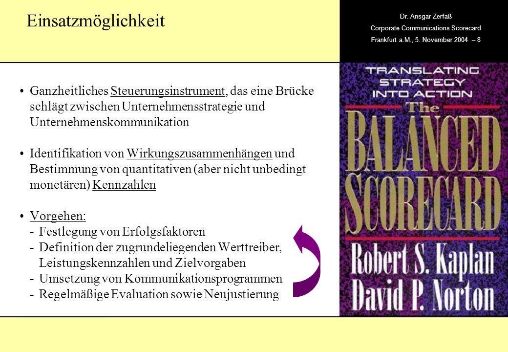 , Dr. Ansgar Zerfaß Corporate Communications Scorecard Frankfurt a.M., 5. November 2004 – 8 Ganzheitliches Steuerungsinstrument, das eine Brücke schlä