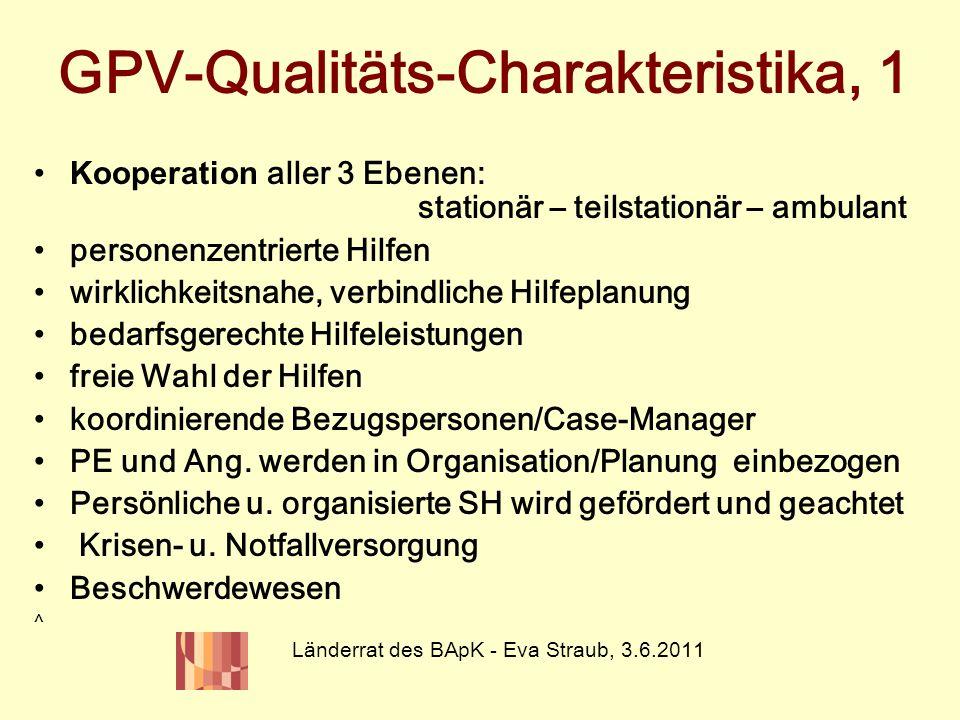 GPV-Qualitäts-Charakteristika, 1 Kooperation aller 3 Ebenen: stationär – teilstationär – ambulant personenzentrierte Hilfen wirklichkeitsnahe, verbind
