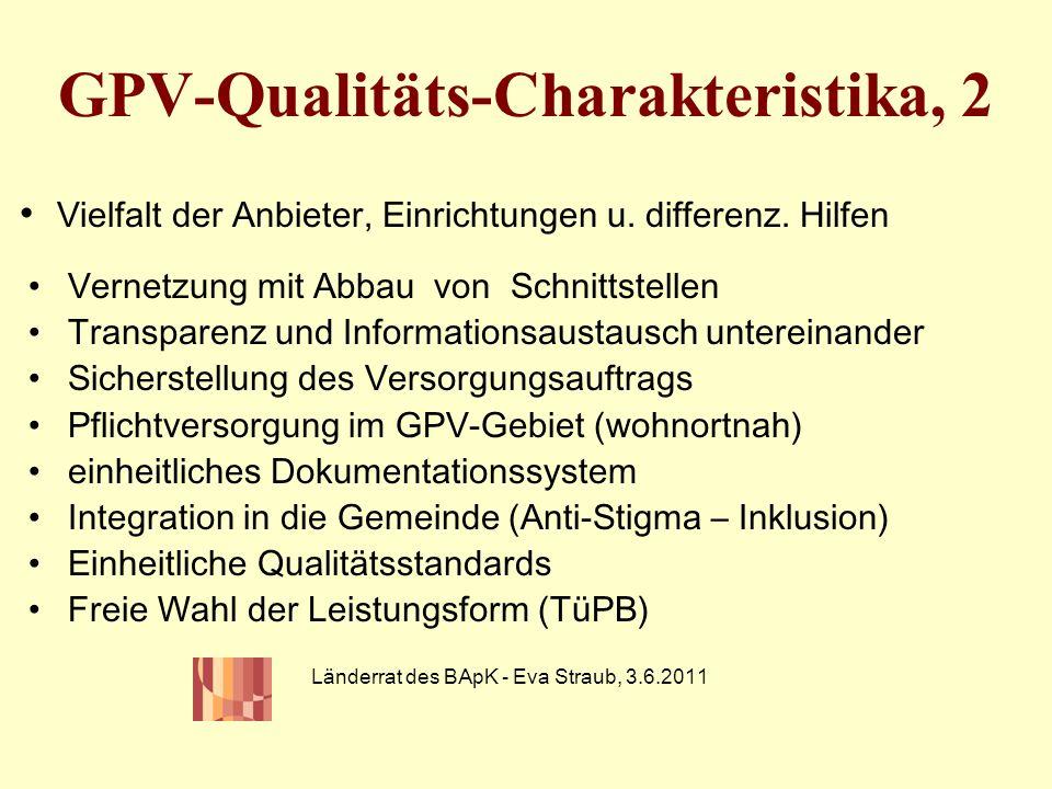 GPV-Qualitäts-Charakteristika, 2 Vernetzung mit Abbau von Schnittstellen Transparenz und Informationsaustausch untereinander Sicherstellung des Versor