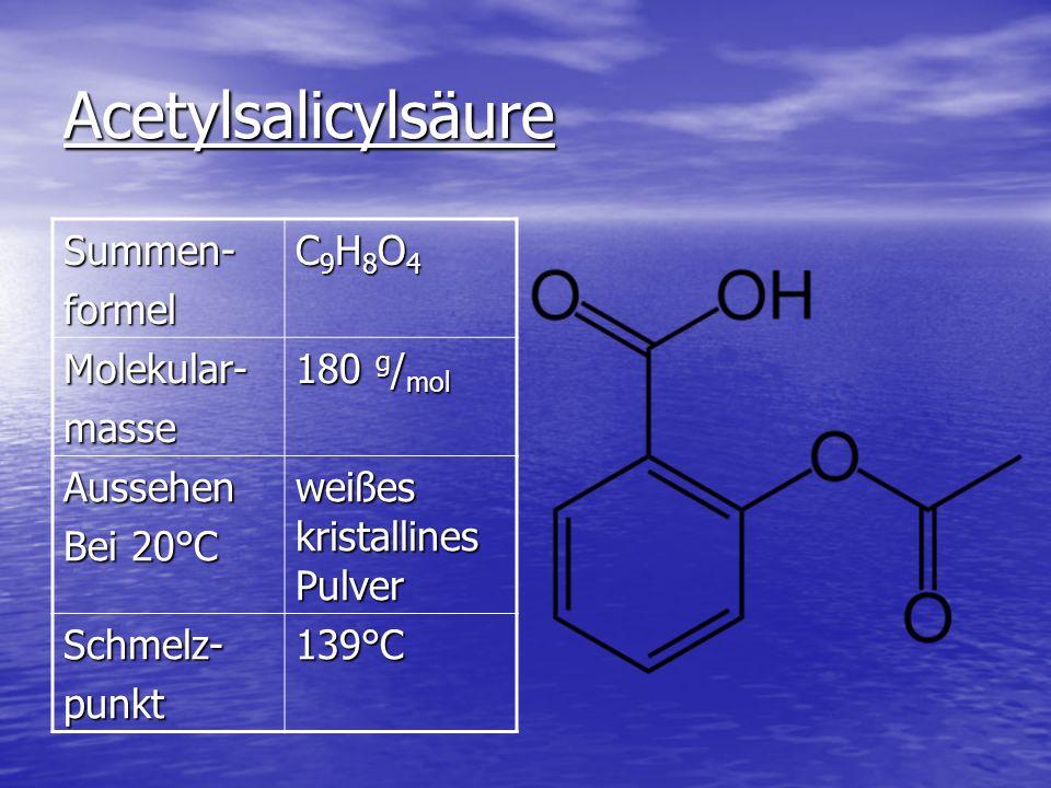 Acetylsalicylsäure Summen-formel C9H8O4C9H8O4C9H8O4C9H8O4 Molekular-masse 180 g / mol Aussehen Bei 20°C weißes kristallines Pulver Schmelz-punkt139°C