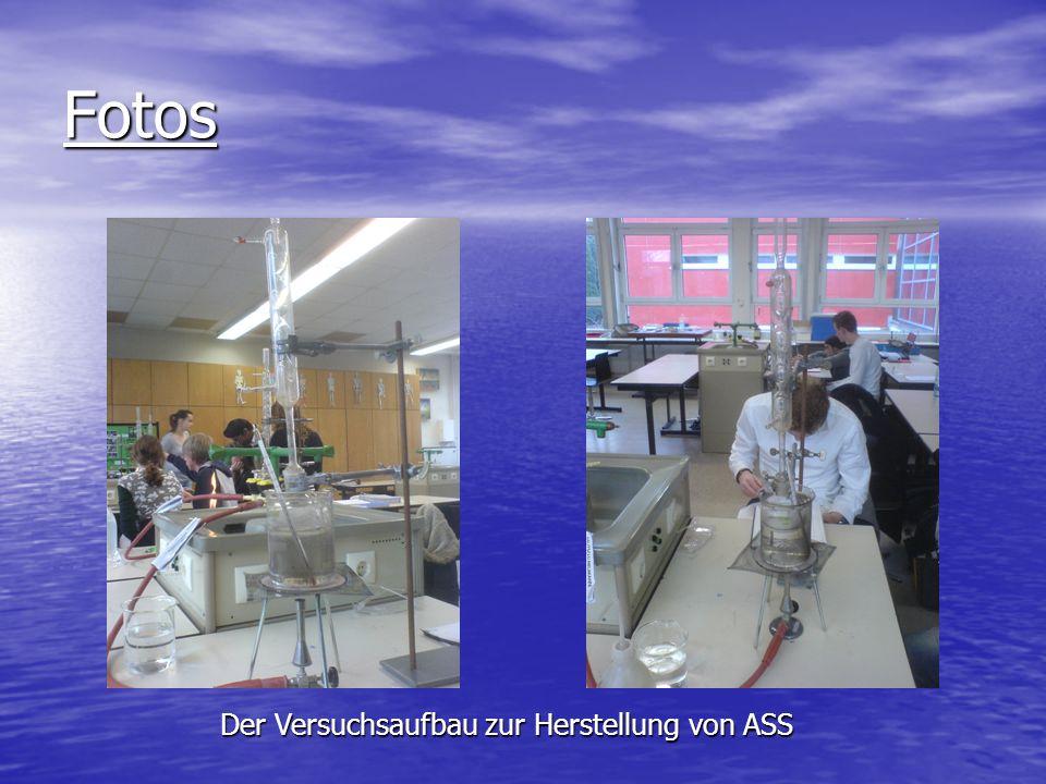 Fotos Der Versuchsaufbau zur Herstellung von ASS