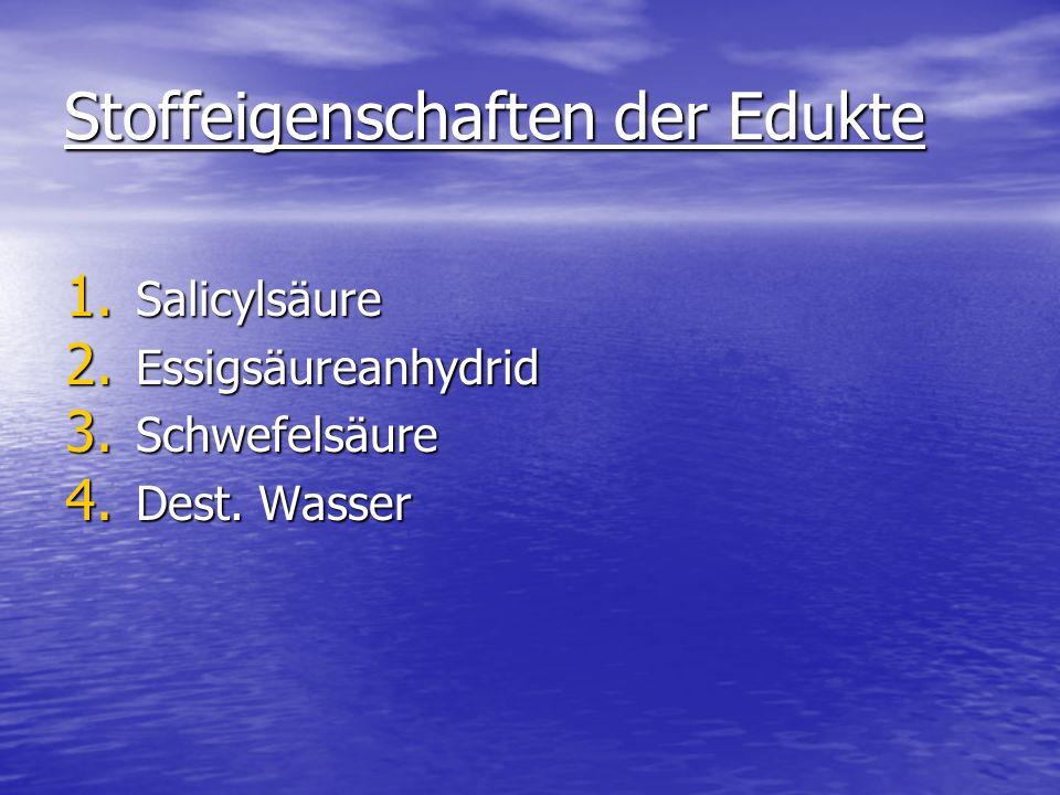 Stoffeigenschaften der Edukte 1. Salicylsäure 2. Essigsäureanhydrid 3. Schwefelsäure 4. Dest. Wasser