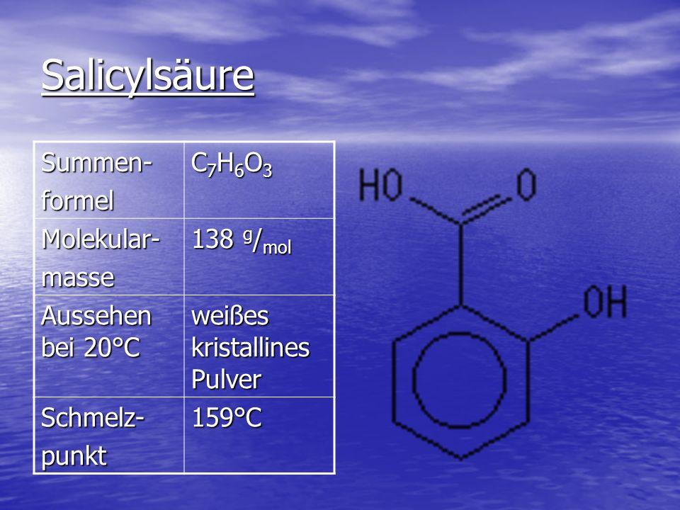 Salicylsäure Summen-formel C7H6O3C7H6O3C7H6O3C7H6O3 Molekular-masse 138 g / mol Aussehen bei 20°C weißes kristallines Pulver Schmelz-punkt159°C