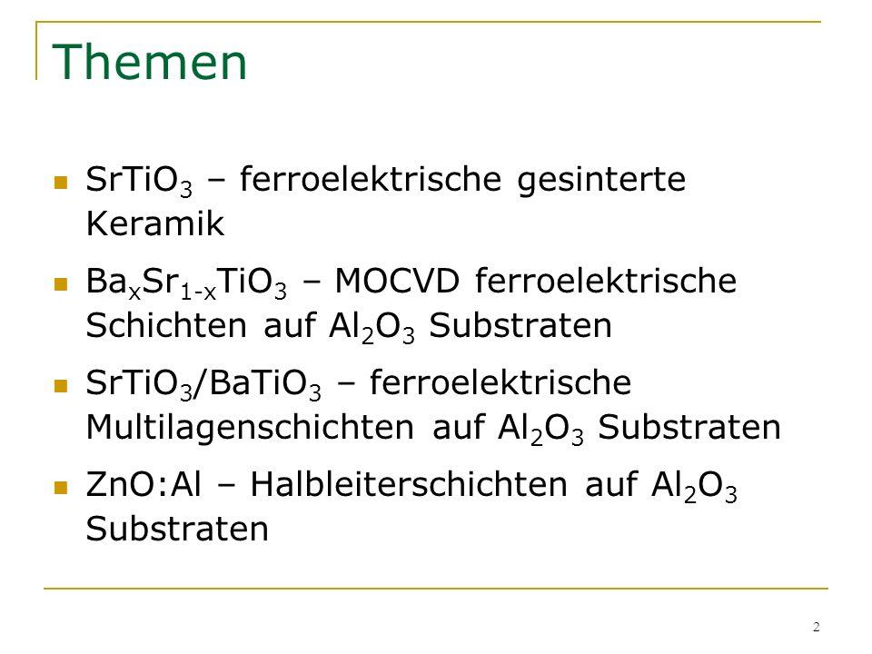 2 Themen SrTiO 3 – ferroelektrische gesinterte Keramik Ba x Sr 1-x TiO 3 – MOCVD ferroelektrische Schichten auf Al 2 O 3 Substraten SrTiO 3 /BaTiO 3 –