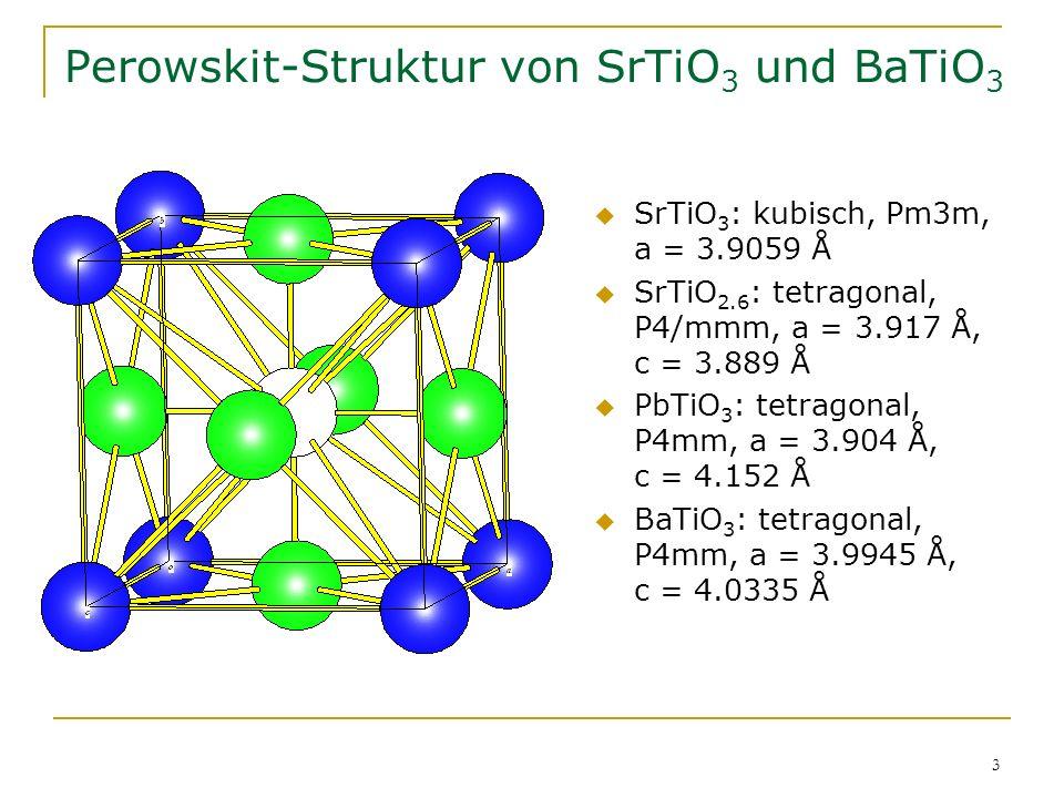 3 Perowskit-Struktur von SrTiO 3 und BaTiO 3 SrTiO 3 : kubisch, Pm3m, a = 3.9059 Å SrTiO 2.6 : tetragonal, P4/mmm, a = 3.917 Å, c = 3.889 Å PbTiO 3 :