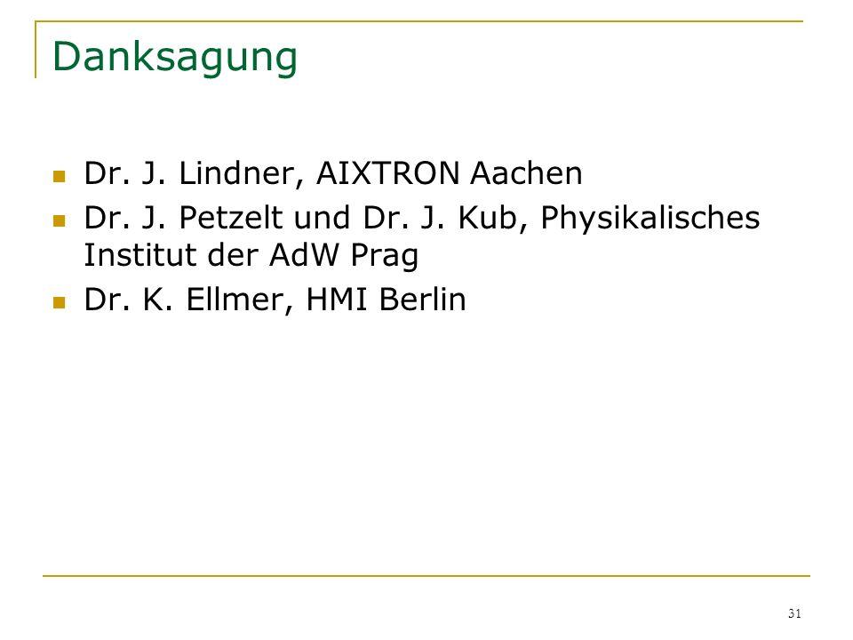 31 Danksagung Dr. J. Lindner, AIXTRON Aachen Dr. J. Petzelt und Dr. J. Kub, Physikalisches Institut der AdW Prag Dr. K. Ellmer, HMI Berlin