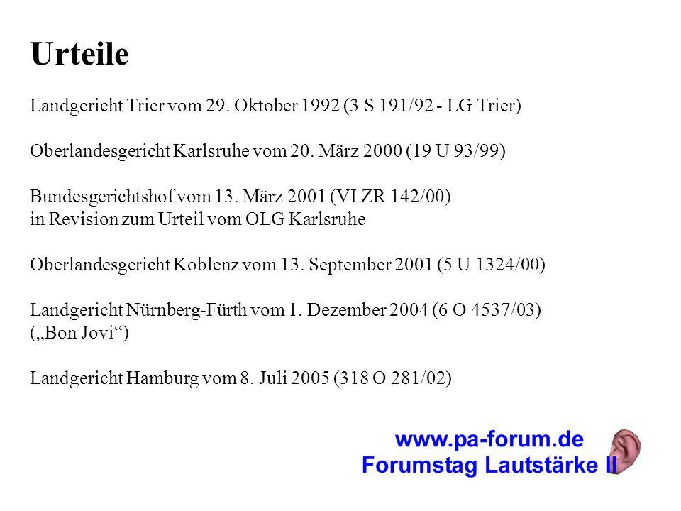 Urteile Landgericht Trier vom 29. Oktober 1992 (3 S 191/92 - LG Trier) Oberlandesgericht Karlsruhe vom 20. März 2000 (19 U 93/99) Bundesgerichtshof vo