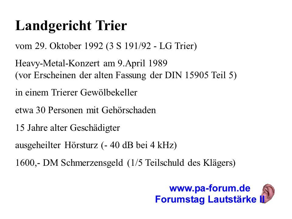 Landgericht Trier vom 29. Oktober 1992 (3 S 191/92 - LG Trier) Heavy-Metal-Konzert am 9.April 1989 (vor Erscheinen der alten Fassung der DIN 15905 Tei