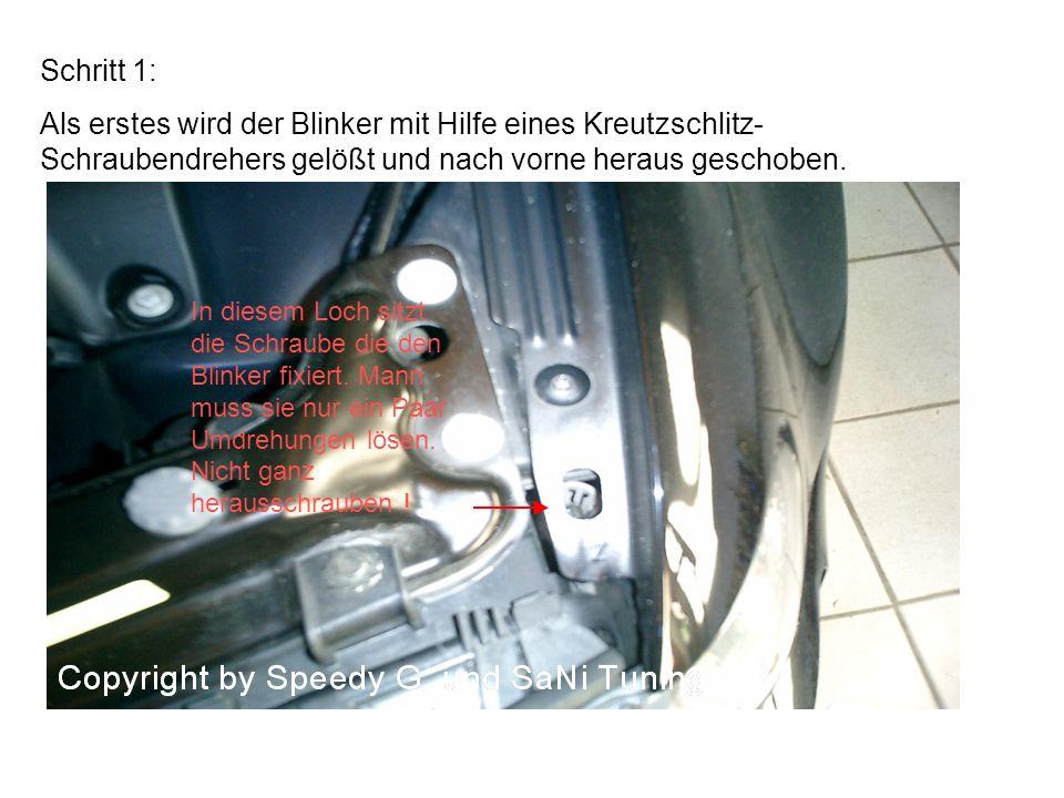 Schritt 1: Als erstes wird der Blinker mit Hilfe eines Kreutzschlitz- Schraubendrehers gelößt und nach vorne heraus geschoben. In diesem Loch sitzt di