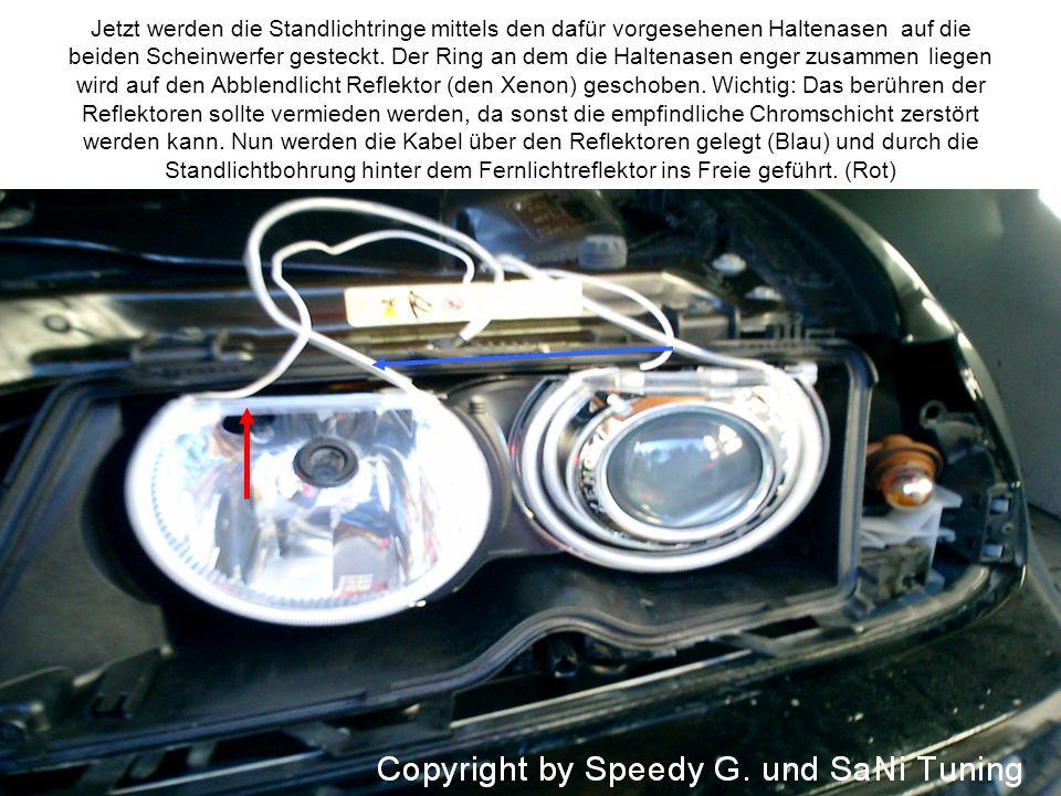Jetzt werden die Standlichtringe mittels den dafür vorgesehenen Haltenasen auf die beiden Scheinwerfer gesteckt. Der Ring an dem die Haltenasen enger