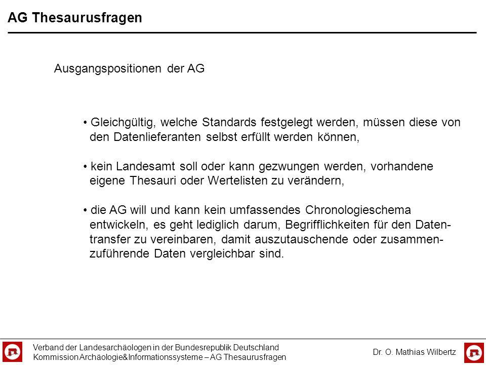 AG Thesaurusfragen Verband der Landesarchäologen in der Bundesrepublik Deutschland Kommission Archäologie&Informationssysteme – AG Thesaurusfragen Dr.