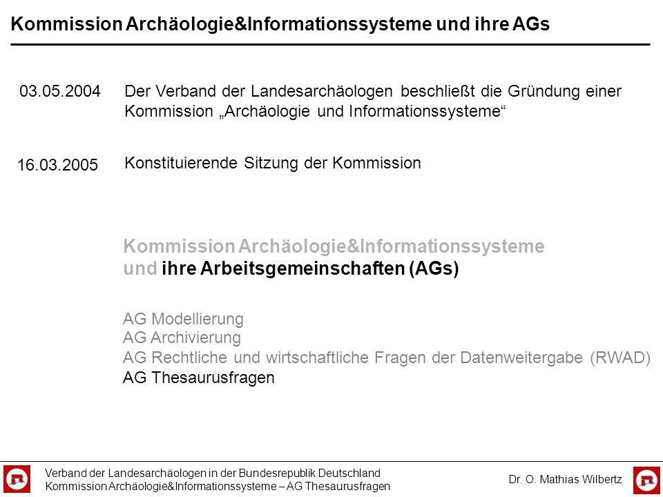 Kommission Archäologie&Informationssysteme und ihre AGs Verband der Landesarchäologen in der Bundesrepublik Deutschland Kommission Archäologie&Informa