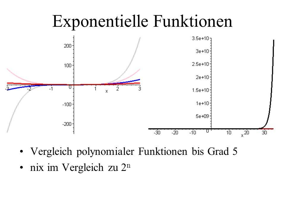 Exponentielle Funktionen Vergleich polynomialer Funktionen bis Grad 5 nix im Vergleich zu 2 n