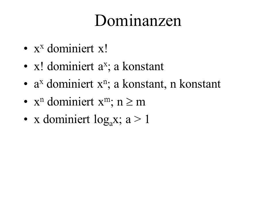 Dominanzen x x dominiert x! x! dominiert a x ; a konstant a x dominiert x n ; a konstant, n konstant x n dominiert x m ; n m x dominiert log a x; a >