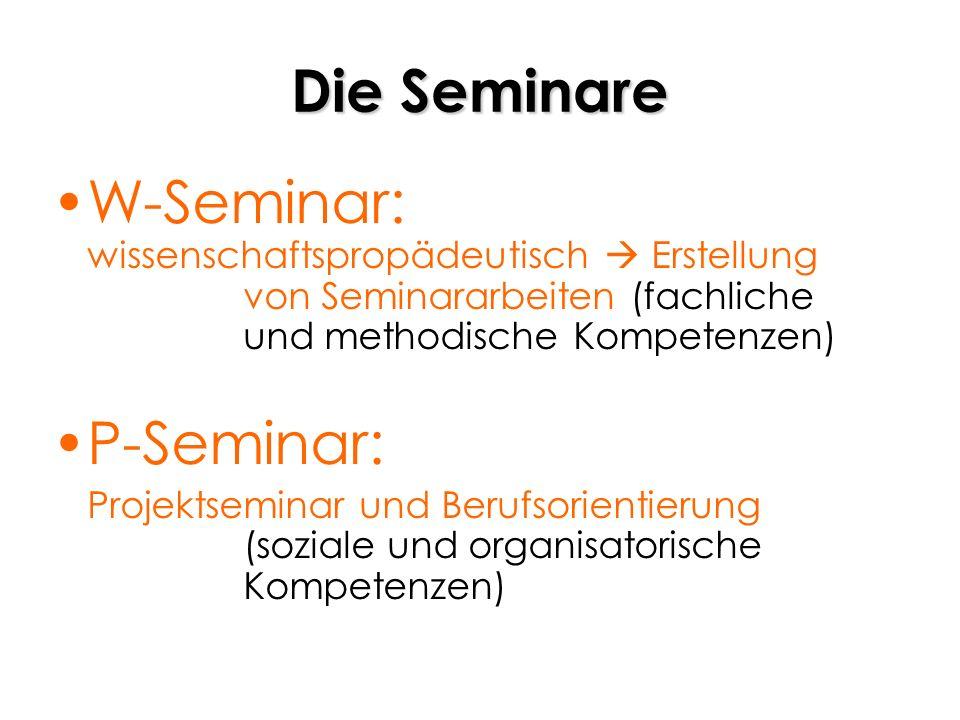 Die Seminare W-Seminar: wissenschaftspropädeutisch Erstellung von Seminararbeiten (fachliche und methodische Kompetenzen) P-Seminar: Projektseminar un