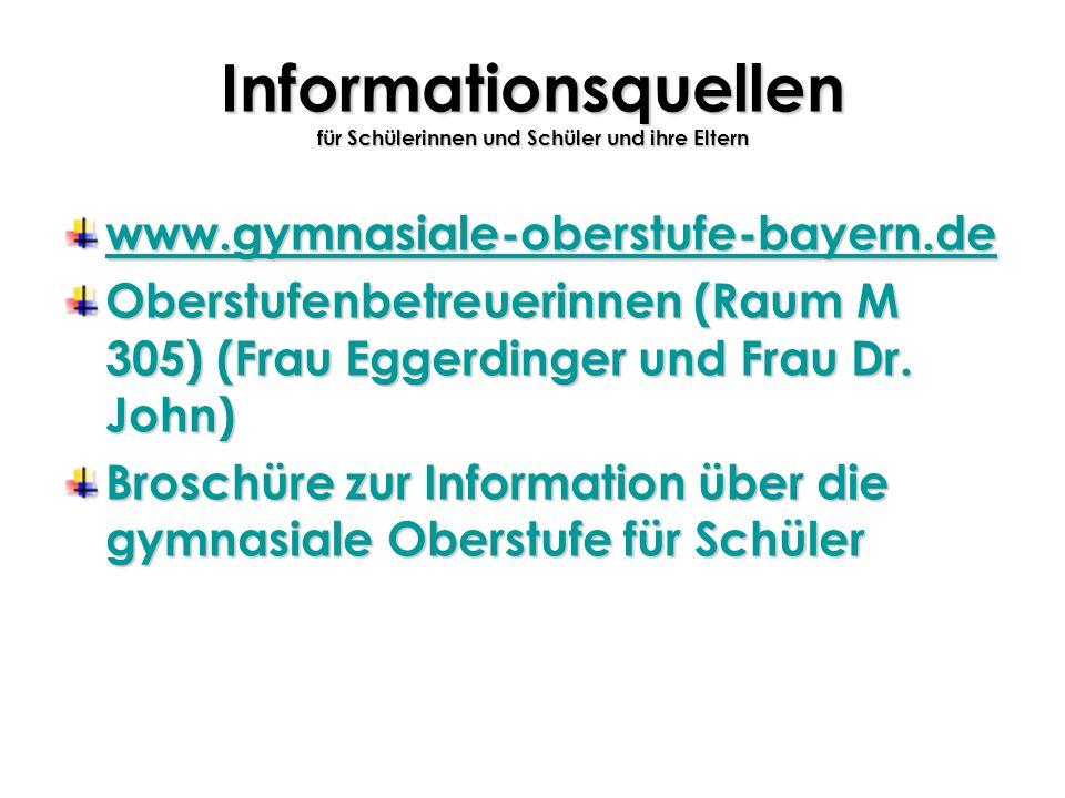 Informationsquellen für Schülerinnen und Schüler und ihre Eltern www.gymnasiale-oberstufe-bayern.de Oberstufenbetreuerinnen (Raum M 305) (Frau Eggerdi