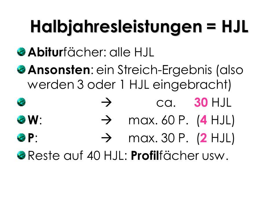 Halbjahresleistungen = HJL Abitur fächer: alle HJL Ansonsten : ein Streich-Ergebnis (also werden 3 oder 1 HJL eingebracht) ca. 30 HJL W : max. 60 P. (