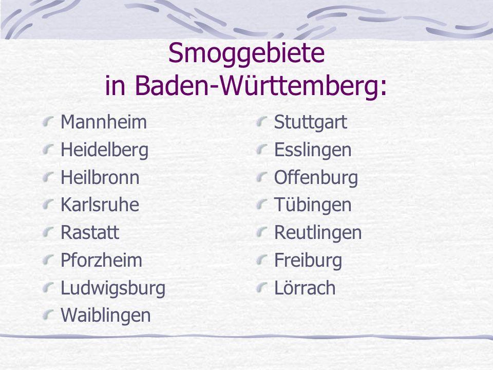 Smoggebiete in Baden-Württemberg: Mannheim Heidelberg Heilbronn Karlsruhe Rastatt Pforzheim Ludwigsburg Waiblingen Stuttgart Esslingen Offenburg Tübin
