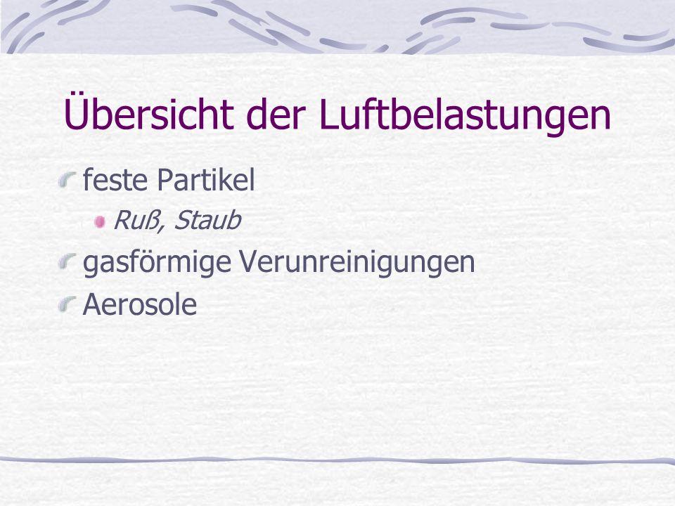 Übersicht der Luftbelastungen feste Partikel Ruß, Staub gasförmige Verunreinigungen Aerosole