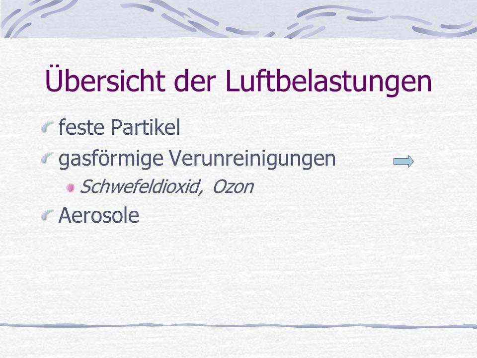 Übersicht der Luftbelastungen feste Partikel gasförmige Verunreinigungen Aerosole Flüssigkeitströpfchen, in denen gasförmige oder feste Stoffe zu finden sind.