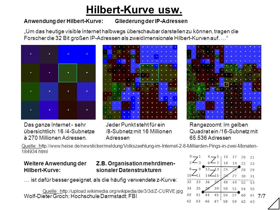 Wolf-Dieter Groch; Hochschule Darmstadt; FBI7/7 Hilbert-Kurve usw. Quelle: http://www.heise.de/newsticker/meldung/Volkszaehlung-im-Internet-2-8-Millia