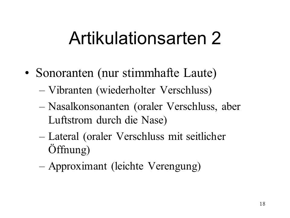 18 Artikulationsarten 2 Sonoranten (nur stimmhafte Laute) –Vibranten (wiederholter Verschluss) –Nasalkonsonanten (oraler Verschluss, aber Luftstrom du