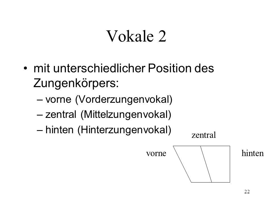 22 Vokale 2 mit unterschiedlicher Position des Zungenkörpers: – vorne (Vorderzungenvokal) – zentral (Mittelzungenvokal) – hinten (Hinterzungenvokal) v