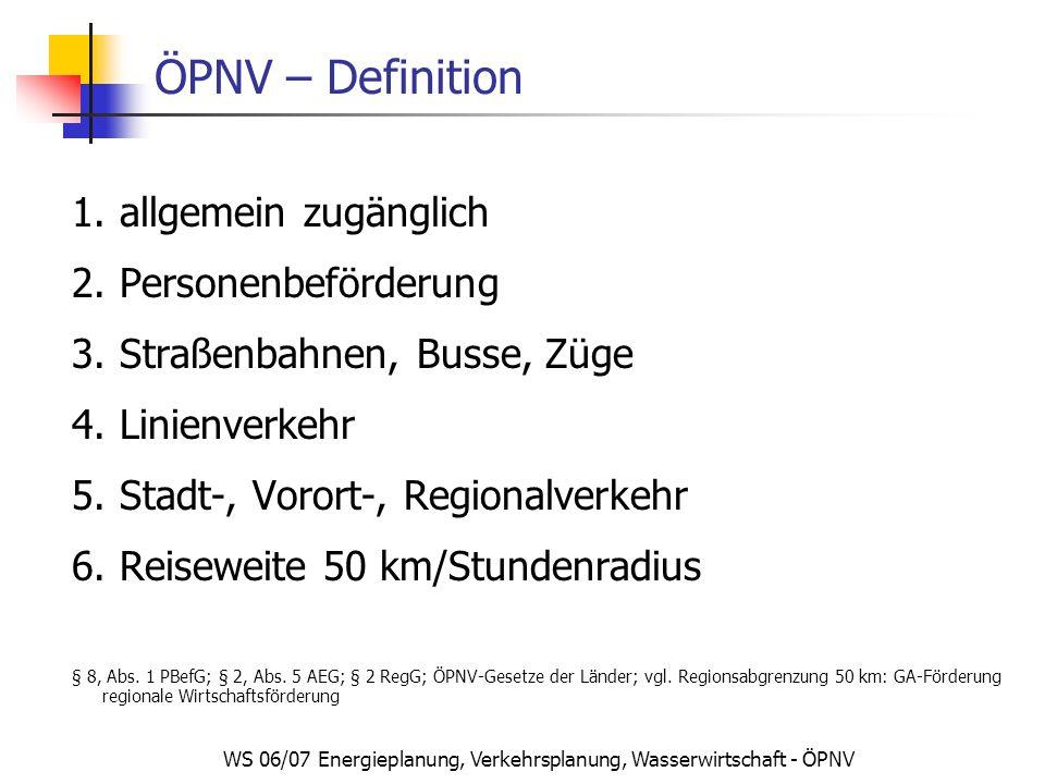 WS 06/07 Energieplanung, Verkehrsplanung, Wasserwirtschaft - ÖPNV ÖPNV – Definition 1. allgemein zugänglich 2. Personenbeförderung 3. Straßenbahnen, B