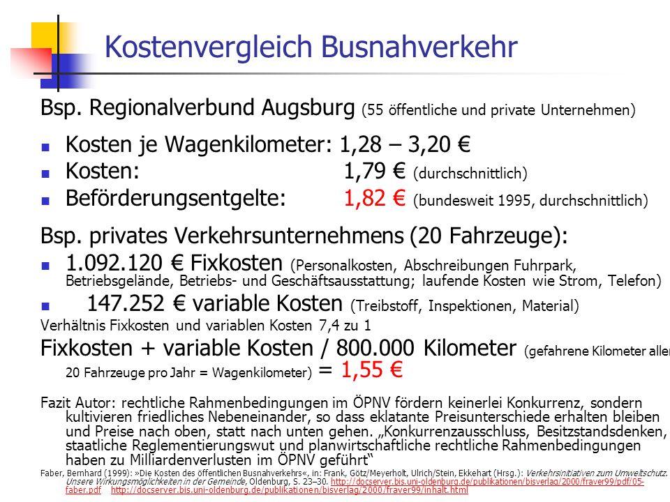 WS 06/07 Energieplanung, Verkehrsplanung, Wasserwirtschaft - ÖPNV Kostenvergleich Busnahverkehr Bsp.