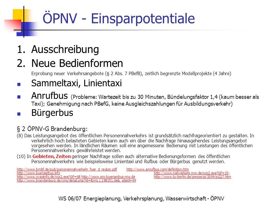 WS 06/07 Energieplanung, Verkehrsplanung, Wasserwirtschaft - ÖPNV ÖPNV - Einsparpotentiale 1.Ausschreibung 2.Neue Bedienformen Erprobung neuer Verkehr