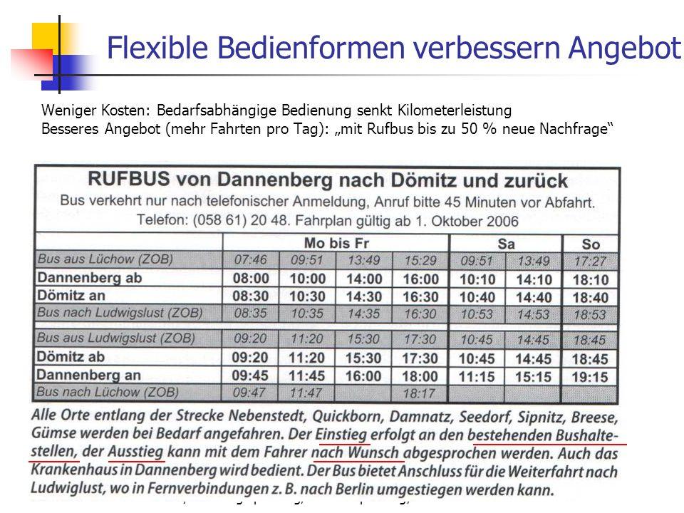 WS 06/07 Energieplanung, Verkehrsplanung, Wasserwirtschaft - ÖPNV Flexible Bedienformen verbessern Angebot Weniger Kosten: Bedarfsabhängige Bedienung