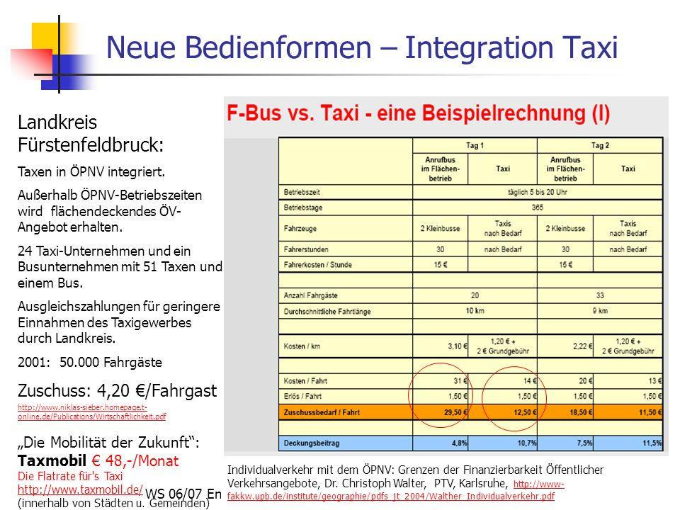 WS 06/07 Energieplanung, Verkehrsplanung, Wasserwirtschaft - ÖPNV Neue Bedienformen – Integration Taxi Individualverkehr mit dem ÖPNV: Grenzen der Fin