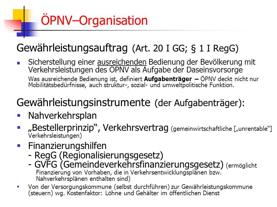 WS 06/07 Energieplanung, Verkehrsplanung, Wasserwirtschaft - ÖPNV ÖPNV–Organisation Gewährleistungsauftrag (Art. 20 I GG; § 1 I RegG) Sicherstellung e