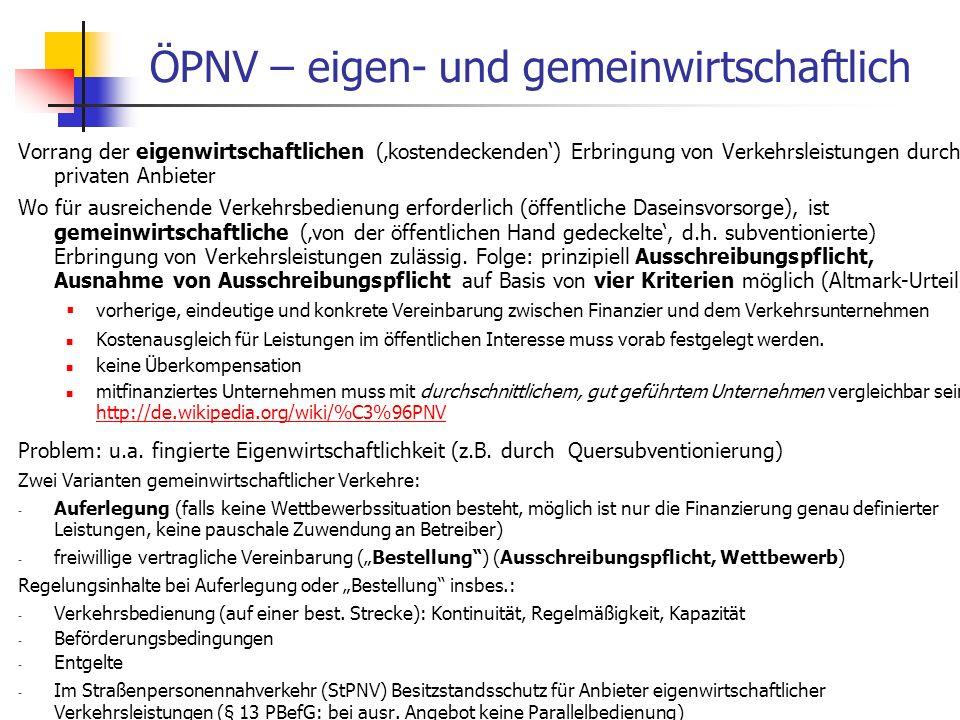 WS 06/07 Energieplanung, Verkehrsplanung, Wasserwirtschaft - ÖPNV ÖPNV – eigen- und gemeinwirtschaftlich Vorrang der eigenwirtschaftlichen (kostendeck