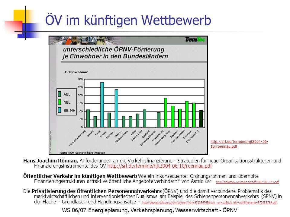 WS 06/07 Energieplanung, Verkehrsplanung, Wasserwirtschaft - ÖPNV ÖV im künftigen Wettbewerb Hans Joachim Rönnau, Anforderungen an die Verkehrsfinanzierung - Strategien für neue Organisationsstrukturen und Finanzierungsinstrumente des ÖV http://srl.de/termine/hjt2004-06-10/roennau.pdfhttp://srl.de/termine/hjt2004-06-10/roennau.pdf Öffentlicher Verkehr im künftigen Wettbewerb Wie ein inkonsequenter Ordnungsrahmen und überholte Finanzierungsstrukturen attraktive öffentliche Angebote verhindern* von Astrid Karl http://bibliothek.wz-berlin.de/pdf/2002/ii02-111.pdf http://bibliothek.wz-berlin.de/pdf/2002/ii02-111.pdf Die Privatisierung des Öffentlichen Personennahverkehrs (ÖPNV) und die damit verbundene Problematik des marktwirtschaftlichen und interventionistischen Dualismus am Beispiel des Schienenpersonennahverkehrs (SPNV) in der Fläche – Grundlagen und Handlungsansätze – http://deposit.ddb.de/cgi-bin/dokserv?idn=972056769&dok_var=d1&dok_ext=pdf&filename=972056769.pdf http://deposit.ddb.de/cgi-bin/dokserv?idn=972056769&dok_var=d1&dok_ext=pdf&filename=972056769.pdf http://srl.de/termine/hjt2004-06- 10/roennau.pdf