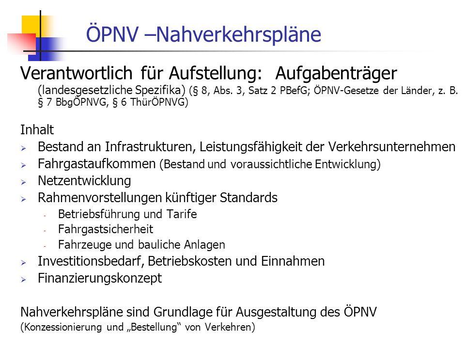 WS 06/07 Energieplanung, Verkehrsplanung, Wasserwirtschaft - ÖPNV ÖPNV –Nahverkehrspläne Verantwortlich für Aufstellung: Aufgabenträger (landesgesetzliche Spezifika) (§ 8, Abs.