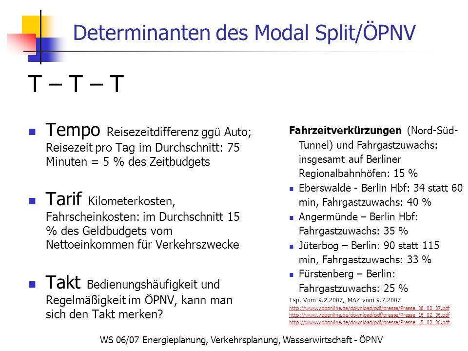 WS 06/07 Energieplanung, Verkehrsplanung, Wasserwirtschaft - ÖPNV Determinanten des Modal Split/ÖPNV T – T – T Tempo Reisezeitdifferenz ggü Auto; Reis