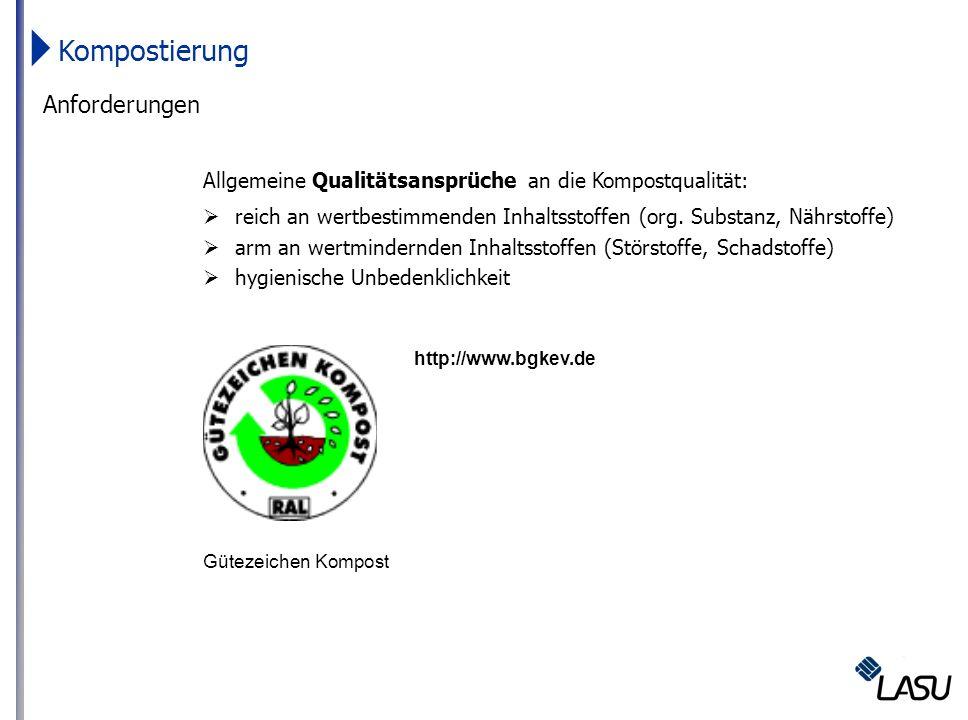 Anforderungen Allgemeine Qualitätsansprüche an die Kompostqualität: reich an wertbestimmenden Inhaltsstoffen (org. Substanz, Nährstoffe) arm an wertmi
