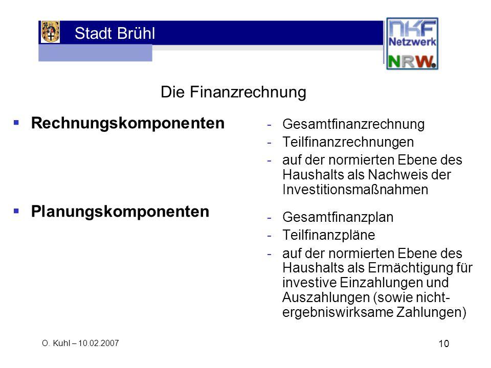 Stadt Brühl O. Kuhl – 10.02.2007 10 Die Finanzrechnung -Gesamtfinanzrechnung -Teilfinanzrechnungen -auf der normierten Ebene des Haushalts als Nachwei