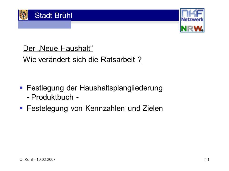 Stadt Brühl O. Kuhl – 10.02.2007 11 Der Neue Haushalt Wie verändert sich die Ratsarbeit ? Festlegung der Haushaltsplangliederung - Produktbuch - Feste