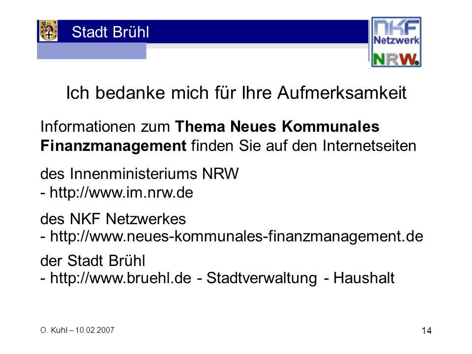 Stadt Brühl O. Kuhl – 10.02.2007 14 Ich bedanke mich für Ihre Aufmerksamkeit Produktbereic h: 100Jugend Produktgrupp e: 01Förder ung von Kinder n in T
