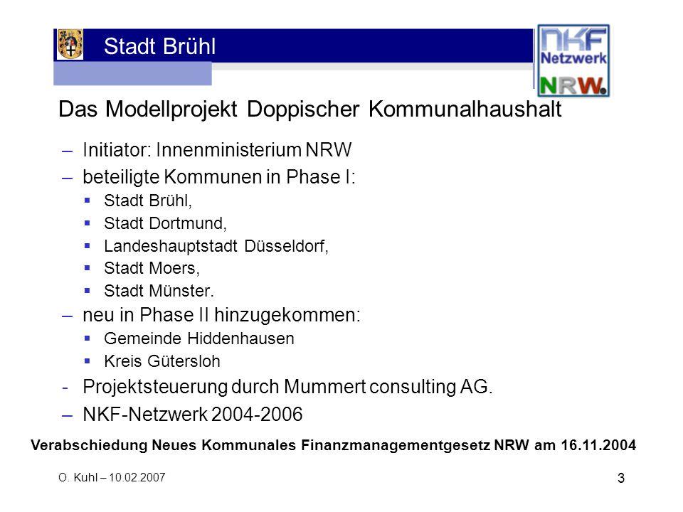 Stadt Brühl O. Kuhl – 10.02.2007 3 Das Modellprojekt Doppischer Kommunalhaushalt –Initiator: Innenministerium NRW –beteiligte Kommunen in Phase I: Sta