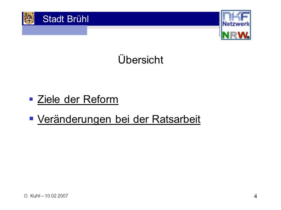 Stadt Brühl O. Kuhl – 10.02.2007 4 Ziele der Reform Veränderungen bei der Ratsarbeit Übersicht