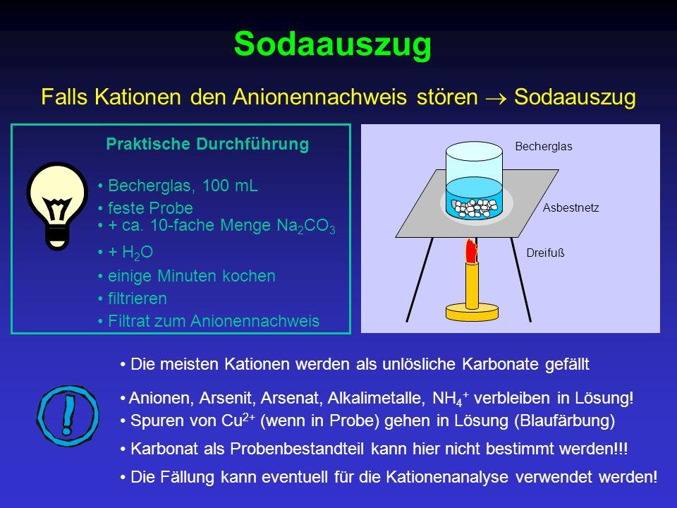 Praktische Durchführung Dreifuß Sodaauszug Filtrat zum Anionennachweis Falls Kationen den Anionennachweis stören Sodaauszug filtrieren Die meisten Kat