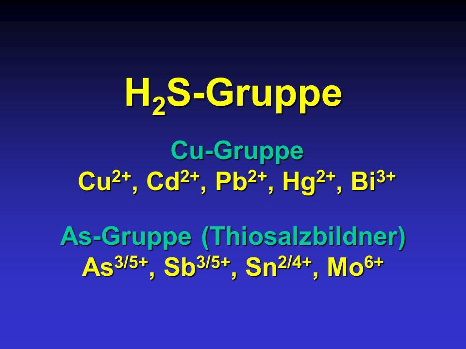 H 2 S-Gruppe Cu-Gruppe Cu 2+, Cd 2+, Pb 2+, Hg 2+, Bi 3+ As-Gruppe (Thiosalzbildner) As 3/5+, Sb 3/5+, Sn 2/4+, Mo 6+