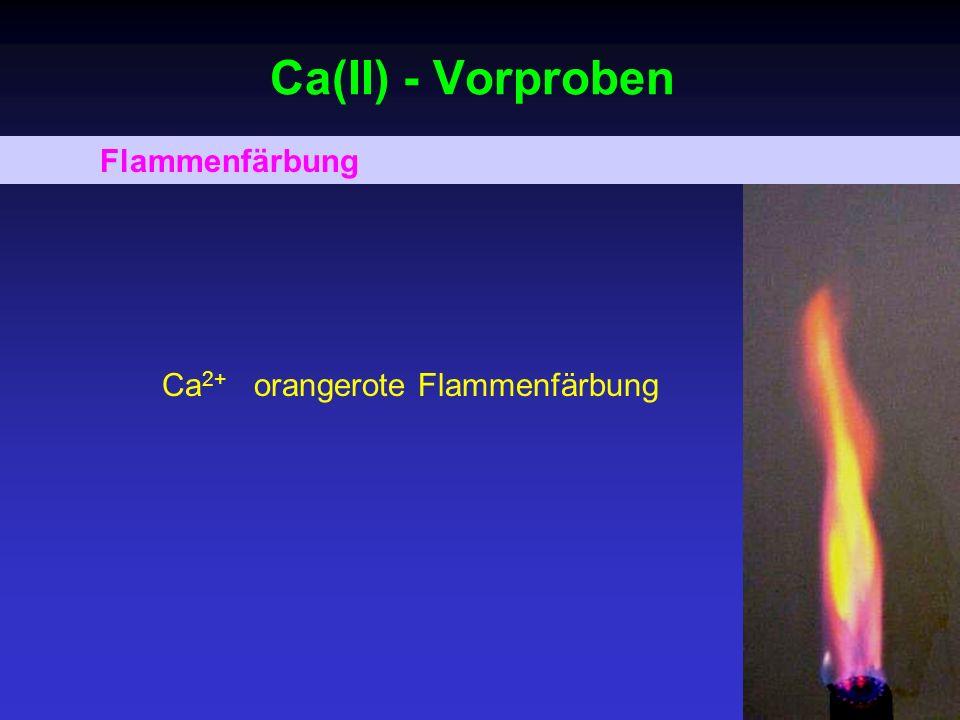 Ca(II) - Zusammenfassung + PO 4 3- 5Ca 2+ + 3PO 4 3- neutral, alkalisch Ca 5 [(PO 4 ) 3 OH] weiß + CO 3 2- Ca 2+ + CO 3 2- NH 3 CaCO 3 weiß + SO 4 2- Ca 2+ + SO 4 2- CaSO 4 weiß, mäßig löslich + C 2 O 4 2- Ca 2+ + C 2 O 4 2- Essigsäure CaC 2 O 4 weiß; NW + Glyoxal-bis-2-hydroxyanil NaOH/Na 2 CO 3 rot, extrahierbar in CHCl 3 ; NW NW – als Nachweisreaktion geeignet.