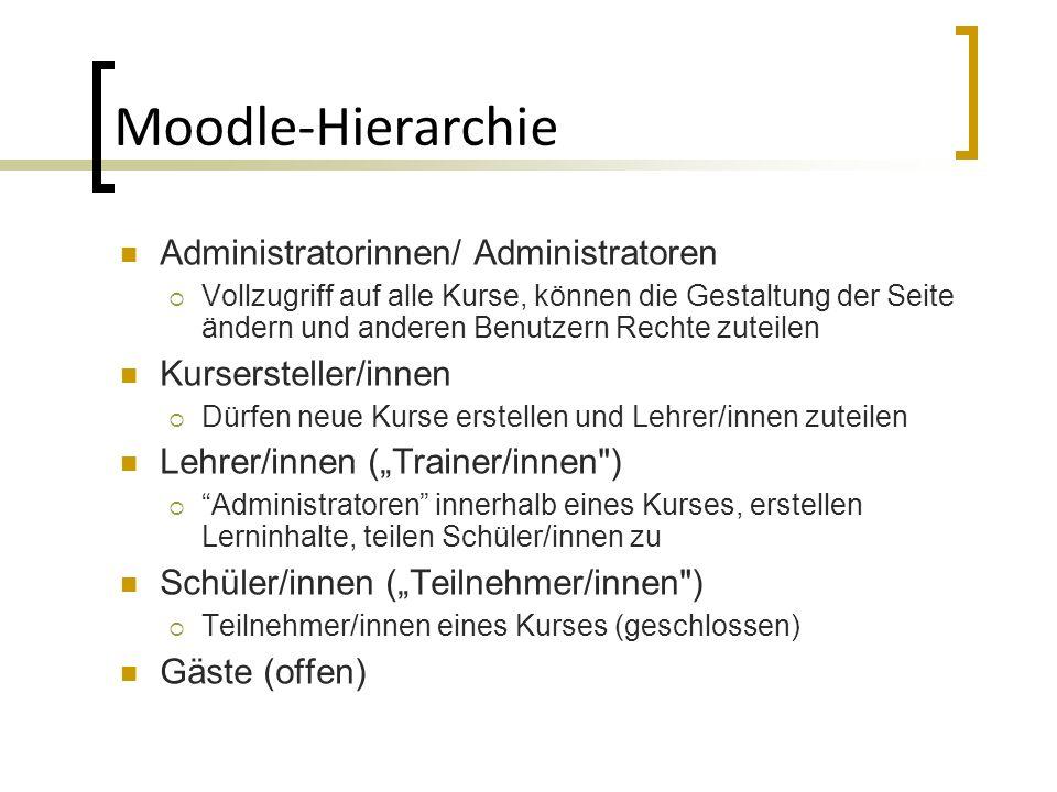 Moodle-Hierarchie Administratorinnen/ Administratoren Vollzugriff auf alle Kurse, können die Gestaltung der Seite ändern und anderen Benutzern Rechte