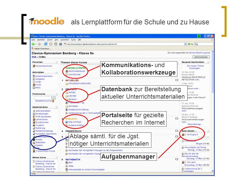 Kommunikations- und Kollaborationswerkzeuge Datenbank zur Bereitstellung aktueller Unterrichtsmaterialien Aufgabenmanager Portalseite für gezielte Rec